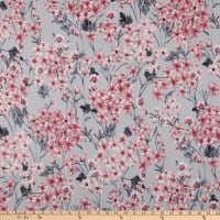 Fabric Merchants Double Brushed Poly Stretch Jersey Knit Floral Bouquet Gray/Pink