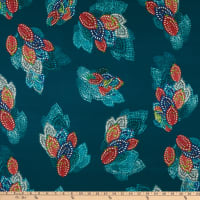 Fabric Merchants Double Brushed Poly Stretch Jersey Knit Stitched Leaves Teal/Pink/Orange