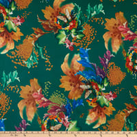 Fabric Merchants Double Brushed Poly Stretch Jersey Knit Butterfly Garden Green/Brown
