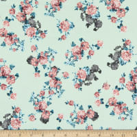 Fabric Merchants Double Brushed Poly Stretch Jersey Knit Mini Floral Clusters Mint/Coral