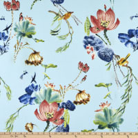 Fabric Merchants Double Brushed Poly Stretch Jersey Knit Tropical Garden Light Blue/Wine/Green