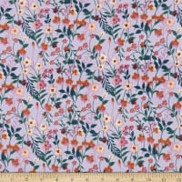 Fabric Merchants Double Brushed Poly Stretch Jersey Knit Floral Field Lavender/Green/Rust