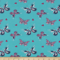 Fabric Merchants Double Brushed Poly Stretch Jersey Knit Butterfly Field Teal/Pink