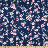 Fabric Merchants Double Brushed Poly Stretch Jersey Knit Island Floral Navy/Pink