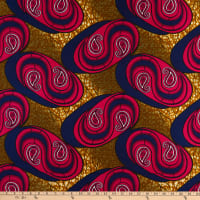 Holland Wax Broadcloth Paisley 6 Yards Red
