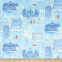 Michael Miller Fabrics Minky Lola Dutch Dutch Around Town Blue