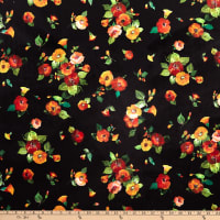 Michael Miller Fabrics Minky Harvest Tribute Harvest Flowers Black