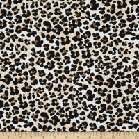 Fabric Merchants Double Brushed Poly Stretch Jersey Knit Leopard Print Small Cream