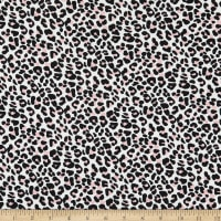 Fabric Merchants Double Brushed Poly Stretch Jersey Knit Mini Leopard Print White/Pink
