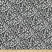 Fabric Merchants Double Brushed Poly Stretch Jersey Knit Snow Leopard Print White/Black