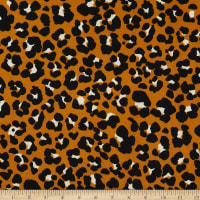 Fabric Merchants Double Brushed Poly Stretch Jersey Knit Leopard Print Copper/Black
