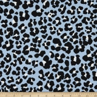 Fabric Merchants Double Brushed Poly Stretch Jersey Knit Leopard Print Blue/Black