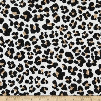 Fabric Merchants Double Brushed Poly Stretch Jersey Knit Leopard Print White/Black/Tan