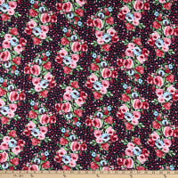Fabric Merchants Double Brushed Poly Stretch Jersey Knit Watercolor Floral Navy/Pink