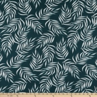 Fabric Merchants Double Brushed Poly Stretch Jersey Knit Thin Leaf Print Forest Green