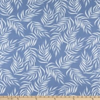 Fabric Merchants Double Brushed Poly Stretch Jersey Knit Thin Leaf Print Steel Blue/White