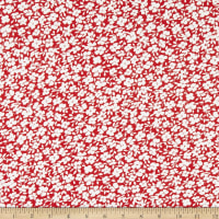 Fabric Merchants Double Brushed Poly Stretch Jersey Knit Ditsy Floral Red/White