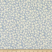 Fabric Merchants Double Brushed Poly Stretch Jersey Knit Ditsy Floral Blue/White