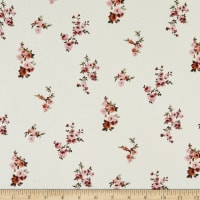 Fabric Merchants Double Brushed Poly Stretch Jersey Knit Small Floral Clusters Cream/Rose