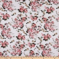 Fabric Merchants Double Brushed Poly Stretch Jersey Knit Floral Bouquet White/Rose