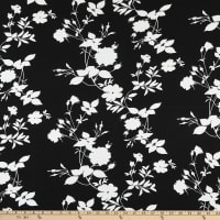Fabric Merchants Double Brushed Poly Stretch Jersey Knit Large Floral Vines Black/White