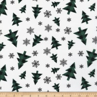 Downhome Country Christmas Snowflakes and Christmas Trees Green/Black