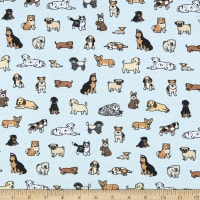 Juvenile Stretch Interlock Knit Prints Dogs Blue/Multi