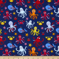 Juvenile Stretch Interlock Knit Prints Sea Life Navy/Multi