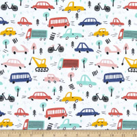 Juvenile Stretch Interlock Knit Prints Vehicles White/Multi