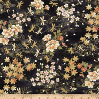 Trans-Pacific Textiles Dragonflies Gold/Black