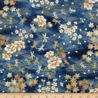 Trans-Pacific Textiles Dragonflies Gold/Navy