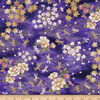 Trans-Pacific Textiles Dragonflies Gold/Purple