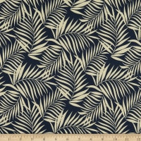 Cotton Palm Leaf Print Brushed Twill Black/Dried Thyme