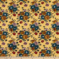 Fabric Merchants Liverpool Stretch Double Knit Floral Bouquet on Dots Mustard/Teal