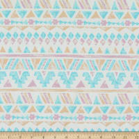 Fabric Merchants Liverpool Stretch Double Knit Tribal Pattern White/Pink/Blue