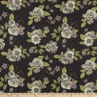 Fabric Merchants Liverpool Stretch Double Knit Mixed Floral Bouquet Plum/Lilac/Green