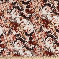 Fabric Merchants Liverpool Stretch Double Knit Large Floral Rust/Ivory