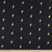Fabric Merchants Stretch French Terry Knit Thunderbolt Charcoal/Yellow
