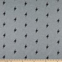 Fabric Merchants Stretch French Terry Knit Thunderbolt Gray/Black