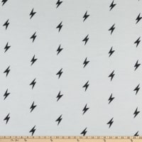 Fabric Merchants Stretch French Terry Knit Thunderbolt White/Black