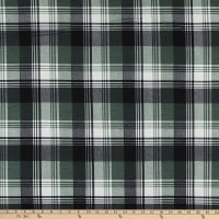 Fabric Merchants Stretch French Terry Knit Plaid Olive/Black
