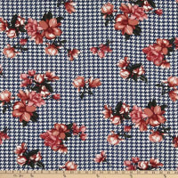 Stretch Bubble Crepe Houndstooth Floral Navy/Pink
