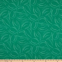 Double Brushed DTY Stretch Knit Abstract Curves Green/White