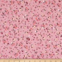 Double Brushed DTY Stretch Knit Calico Roses Pink/Pink