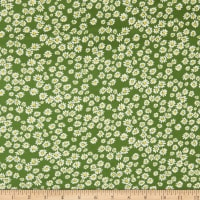 Double Brushed DTY Stretch Knit Daisies Green