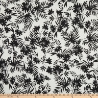 Double Brushed DTY Stretch Knit Floral Shadows White/Black