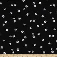 Double Brushed DTY Stretch Knit Large Petals Black White