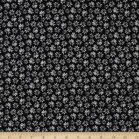 Double Brushed DTY Stretch Knit Small Petals Black/White