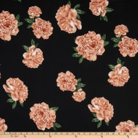 Stretch DTY Large Roses Black/Peach/Green