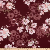 Techno Stretch Scuba Knit Large Floral Maroon/Pink
